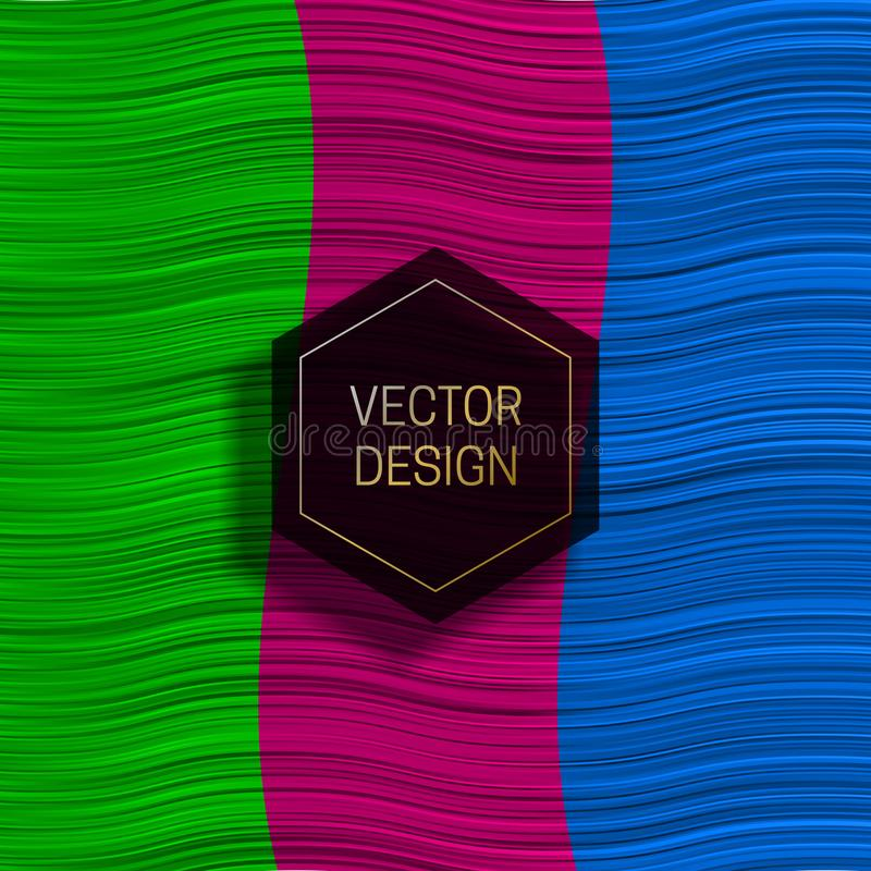 Heksagonalna rama na kolorowym dynamicznym tle Modny pakuje projekt lub okładkowy szablon ilustracji