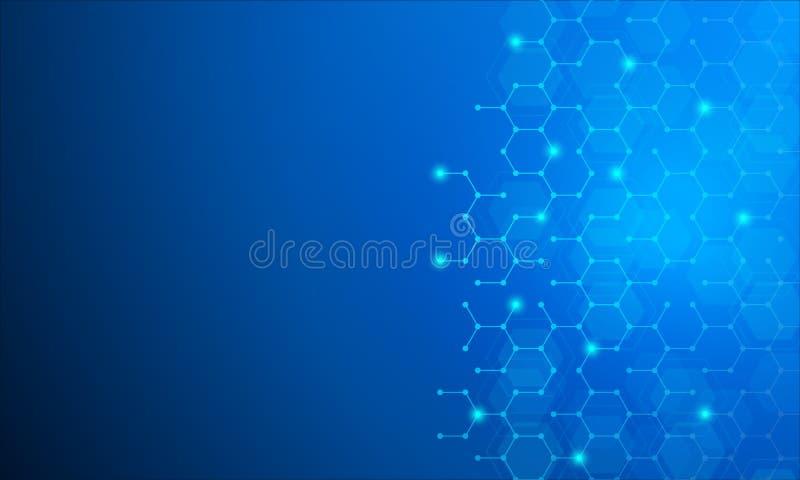 Heksagonalna technologia, molekuła, genetycznych, chemicznych mieszanek abstrakcjonistyczny wektorowy tło, Abstrakcjonistyczny ge royalty ilustracja