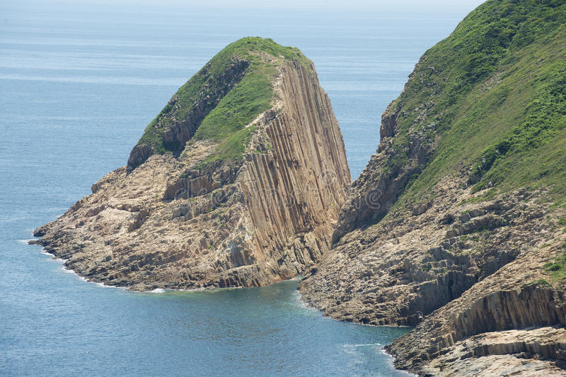Heksagonalne kolumny powulkaniczny początek przy Hong Konvvg Globalny Geopark w Hong Kong, Chiny zdjęcie royalty free