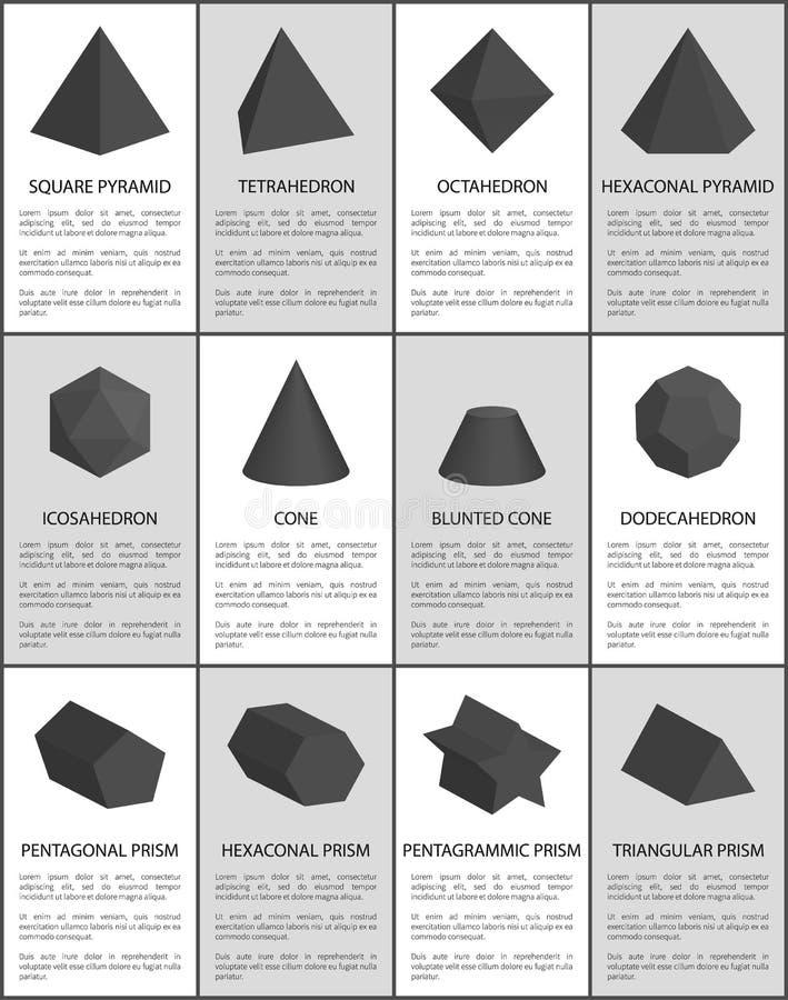 Heksagonalni i Pięcioboczni Pentagrammic czerni graniastosłupy royalty ilustracja