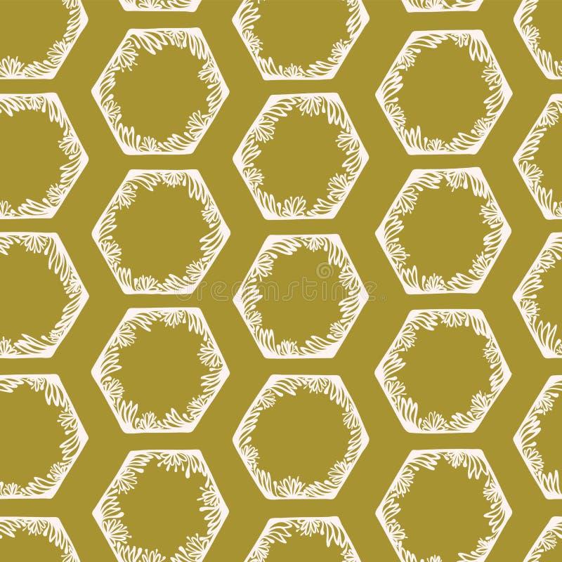 Heksagonalny Abstrakcjonistyczny Geo Doodle Kształtuje Oliwną zieleń ilustracji