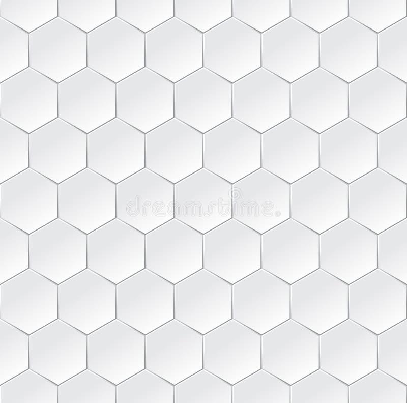 Heksagonalny biały semless tło z 3d skutkiem ilustracja wektor
