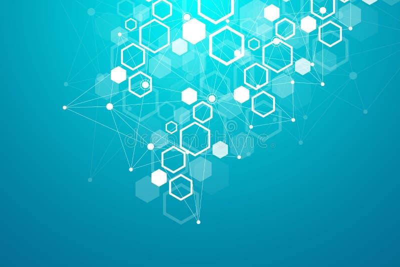 Heksagonalny geometryczny tło Sześciokąty genetyczni i ogólnospołeczna sieć Przyszłościowy geometryczny szablon prezentacja wymia ilustracja wektor