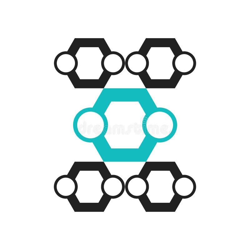Heksagonalny Interconnections ikony wektoru znak i symbol odizolowywający na białym tle, Heksagonalny Interconnections logo pojęc ilustracji