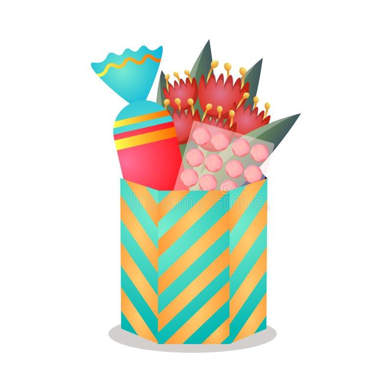 Heksagonalny kolorowy prezenta pudełko z czerwonymi tulipanami i cukierkiem royalty ilustracja