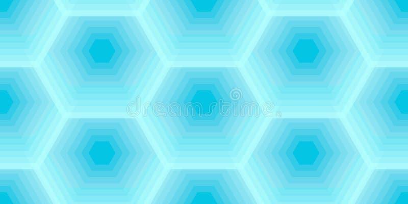 Heksagonalny pszczoły honeycomb błękitny kolor, wektorowy bezszwowy wzór ilustracja wektor