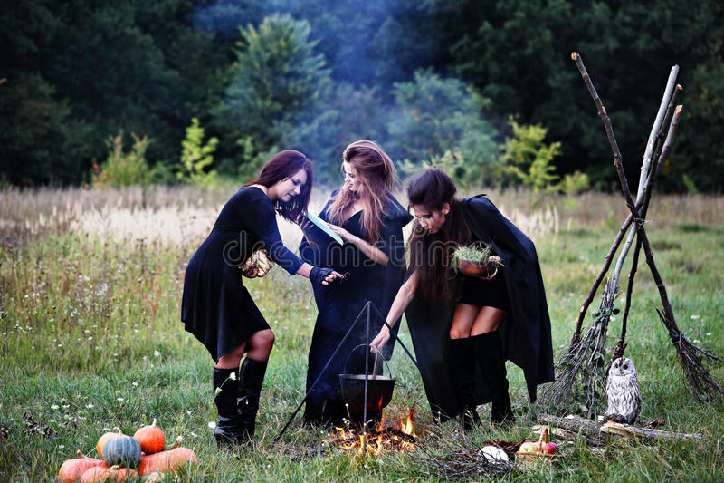 Heksen die een drankje voorbereiden royalty-vrije stock foto