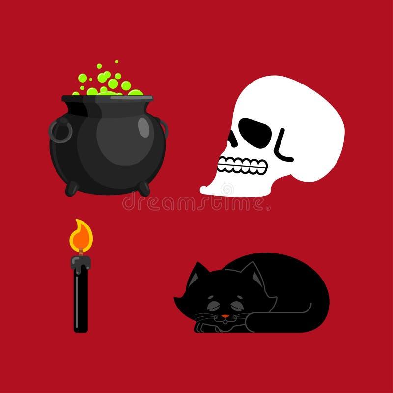Heksen vastgestelde magische pot en schedel, Zwarte kat en kaars voor werktijden stock illustratie