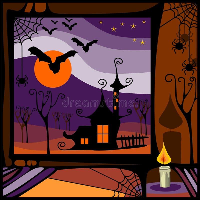 Heksenhuis in de nacht stock illustratie
