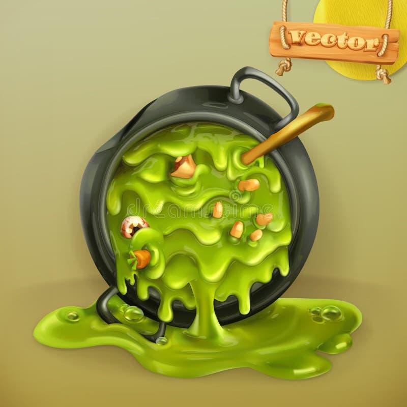 Heksenkeuken Pot met een drankje Het vectorpictogram van Halloween vector illustratie