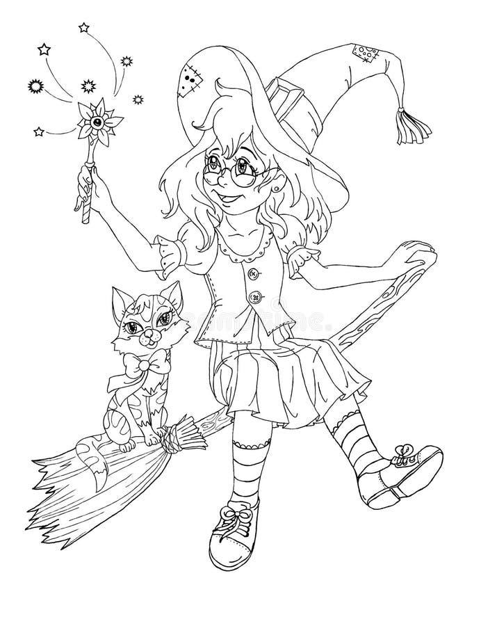 Heksenmeisje royalty-vrije illustratie