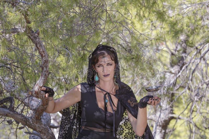 Heksenvrouwen tijdens Halloween in het bos royalty-vrije stock afbeelding