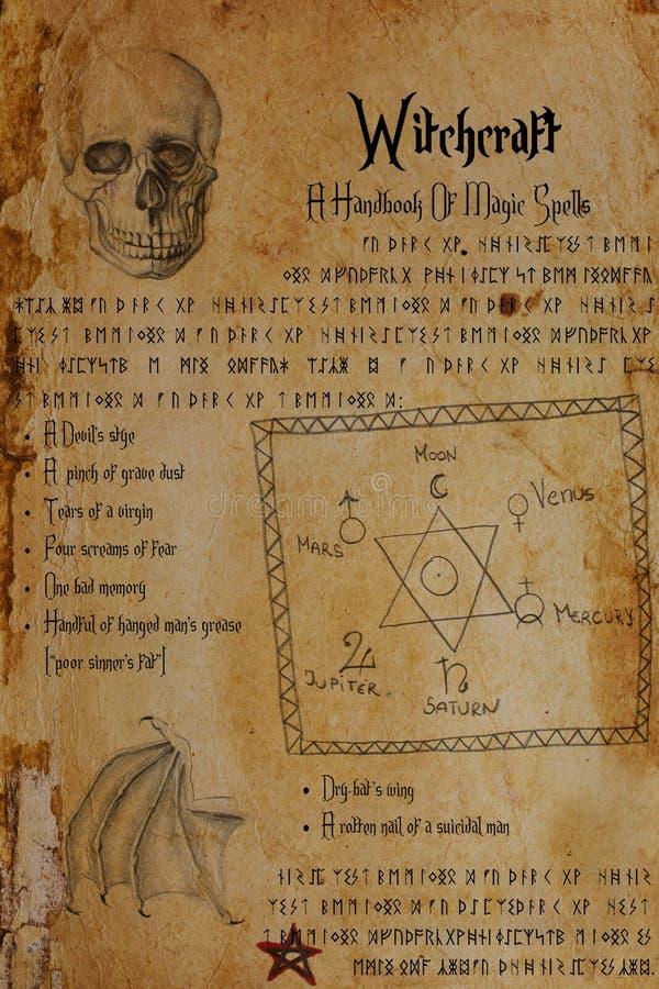 Hekserijdocument Verbinding van Solomon, schedel, bat's vleugel, runen, pentagram royalty-vrije illustratie