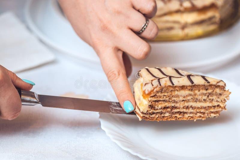 Hel esterhazy torte och en skiva av kakan på kniven Kvinnans händer rymmer det autentiskt recept, ungerskt och österrikiskt arkivbild