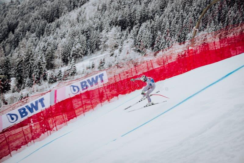 Hel Hahnenkamm Ski Race em declive do ¼ de Kitzbà imagem de stock