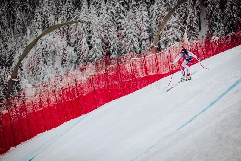 Hel Hahnenkamm Ski Race em declive do ¼ de Kitzbà foto de stock
