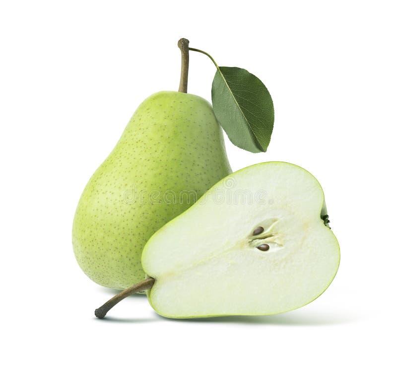 Hel halva för två gröna päron på vit bakgrund arkivbild