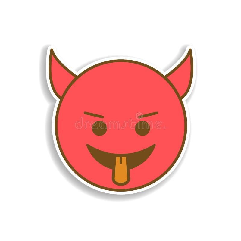 hel met de tong die het uit gekleurde pictogram van de emojisticker plakken Element van emoji voor mobiele concept en webtoepassi royalty-vrije illustratie