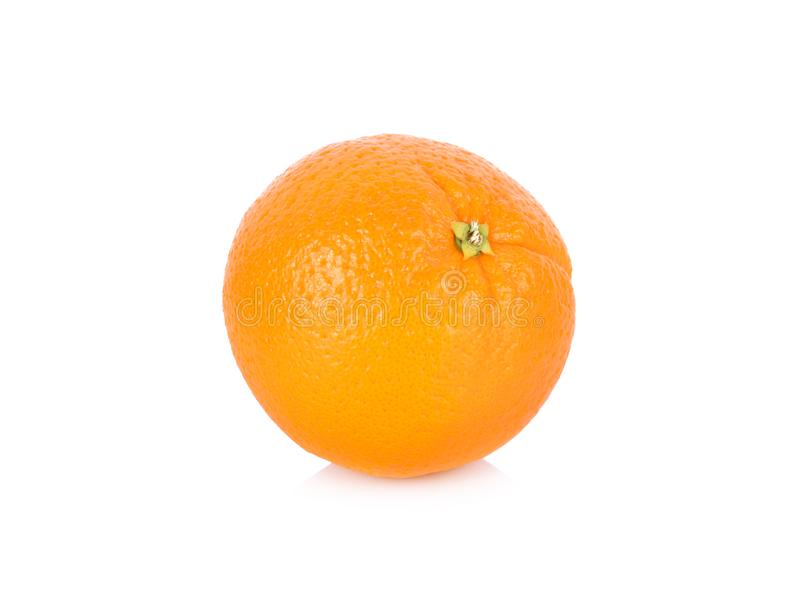 Hel ny navel-/Valencia apelsin på vit bakgrund royaltyfri bild