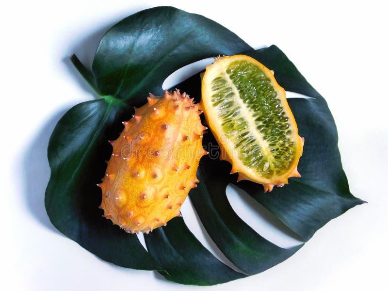 Hel och halv kiwanofrukt på bladet royaltyfri fotografi