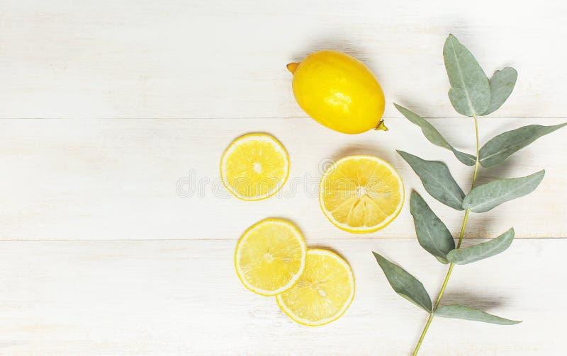 Hel och skivad ny citron, eukalyptussidor på vit träbakgrund Lekmanna- lägenhet, bästa sikt, kopieringsutrymme minsta arkivfoto