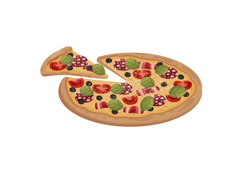Hel pizza med salami och bacon white f?r vektor f?r bakgrundsillustrationhaj stock illustrationer