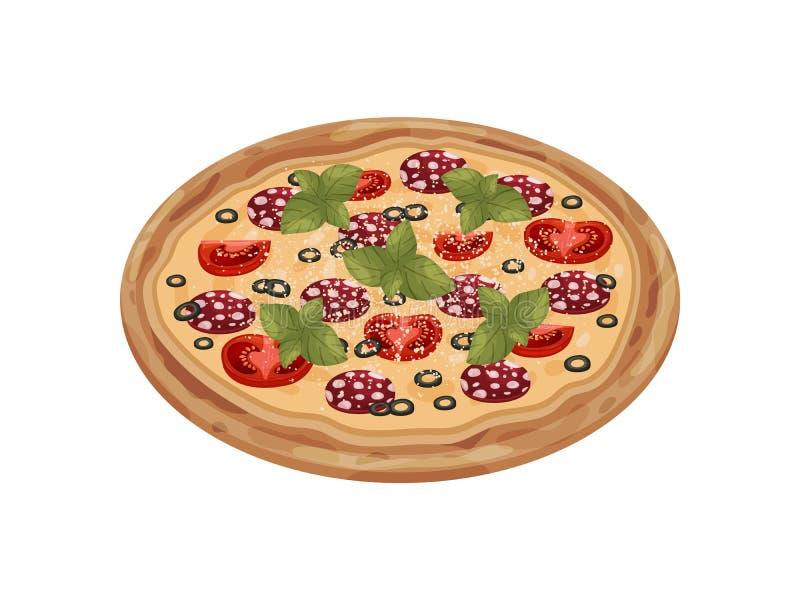 Hel pizza med salami white f?r vektor f?r bakgrundsillustrationhaj royaltyfri illustrationer