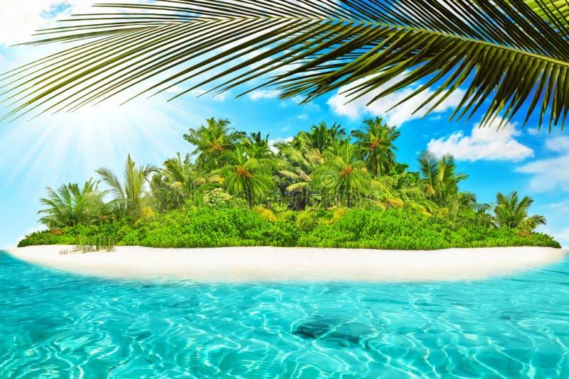Hel tropisk ö inom atoll i det tropiska havet arkivbild