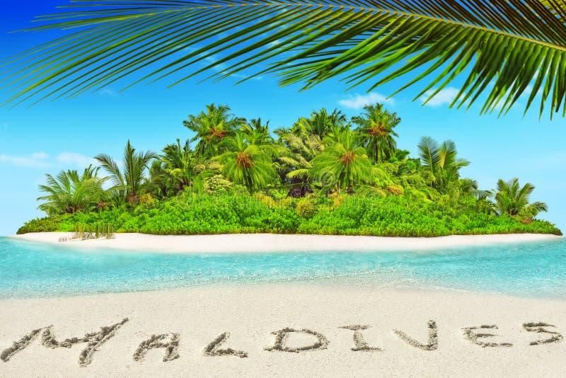 Hel tropisk ö inom atoll i det tropiska havet och inscrip fotografering för bildbyråer