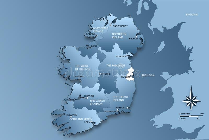 hela ireland översiktsregioner stock illustrationer