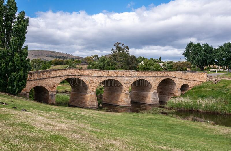 Hela Richmond Bridge i Richmond, Tasmania, Australien arkivfoto