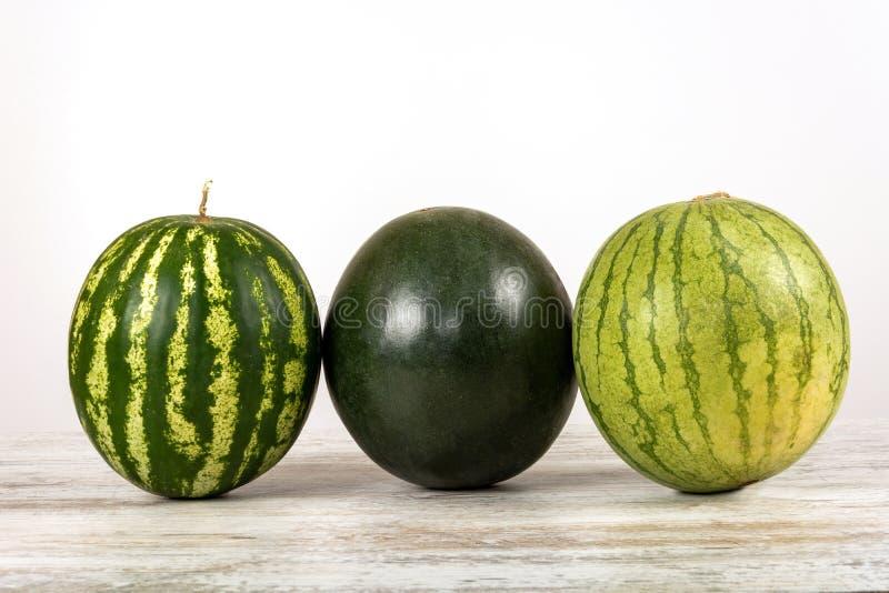 Hela vattenmelon av olika variationer på en vit bakgrund royaltyfri bild