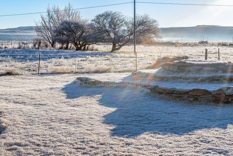 Helada pesada cerca de Sutherland en el Northern Cape imágenes de archivo libres de regalías