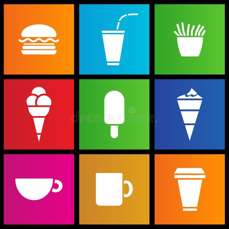 Helado, café y alimentos de preparación rápida ilustración del vector