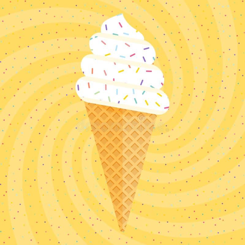 Helado colorido delicioso en cono de la galleta en fondo amarillo del confeti del remolino Ilustración del vector libre illustration