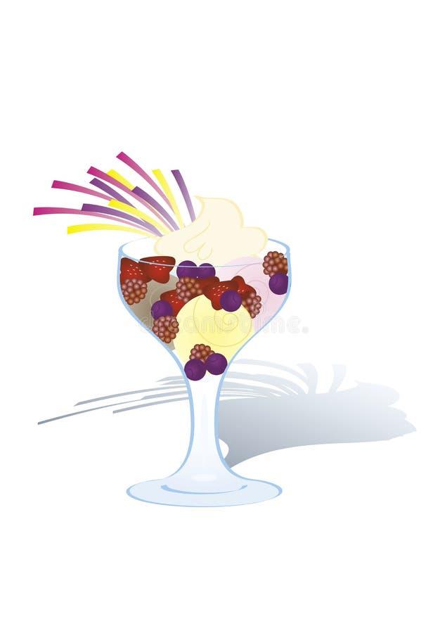 Helado con las frutas y la crema azotada imagen de archivo