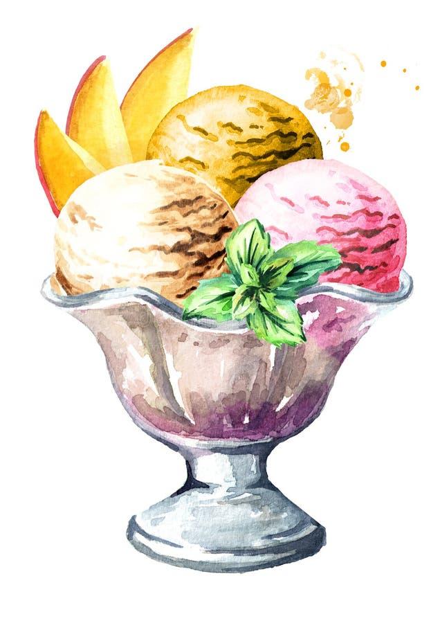 Helado con las frutas y la menta en el cuenco Ejemplo dibujado mano de la acuarela, aislado en el fondo blanco stock de ilustración