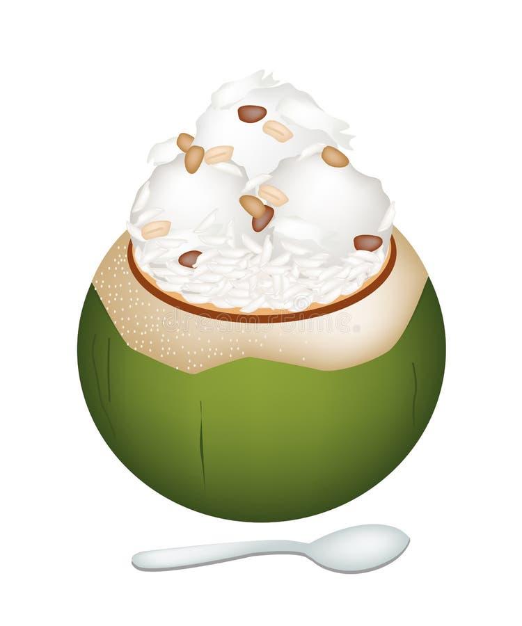 Helado de coco con arroz Nuts y pegajoso ilustración del vector