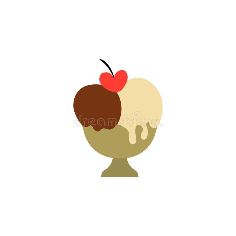 Helado de fresa en la forma del símbolo del corazón, romántico y del amor de la fecha del concepto del vector stock de ilustración