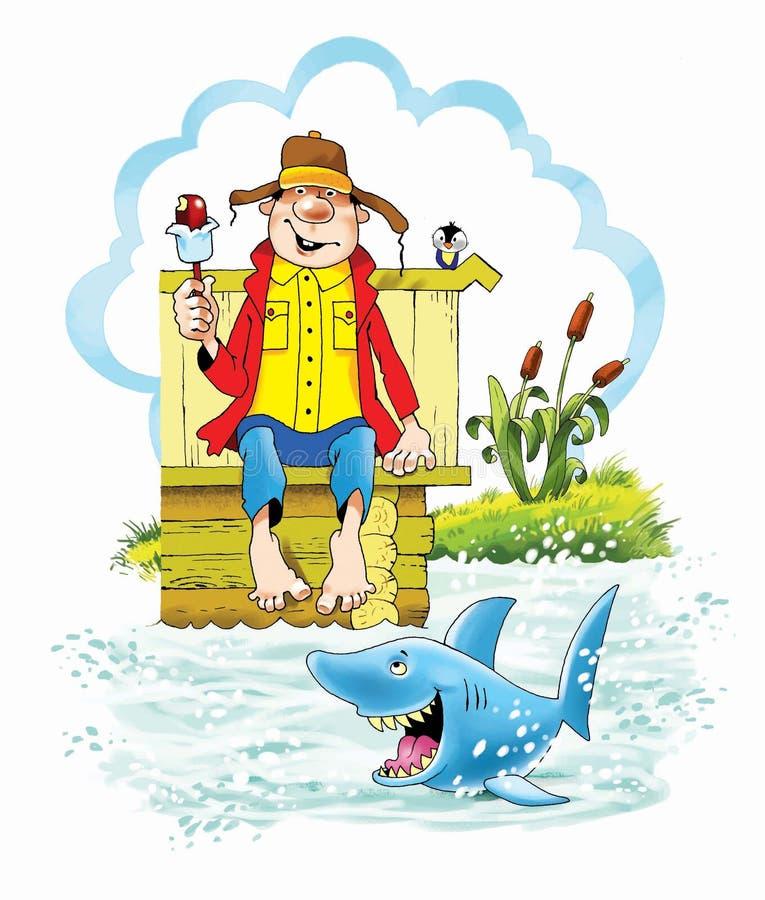 Helado de la caricatura de la historieta del tiburón de la ilusión stock de ilustración