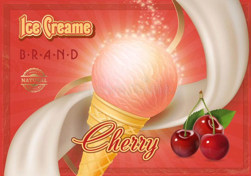 Helado de la cereza del vector en un cono Publicidad del cartel stock de ilustración
