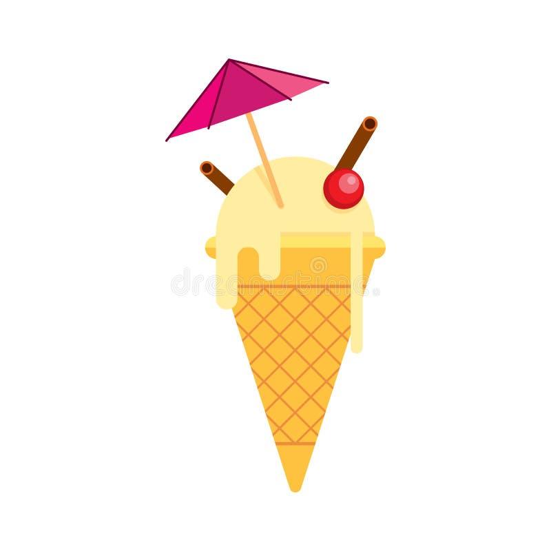Helado de vainilla en una taza afilada con un paraguas, cereza, cin ilustración del vector