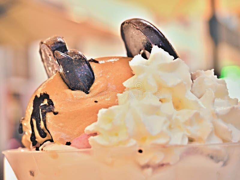 Helado del canela en un tarro adornado con las galletas hechas del chocolate oscuro foto de archivo libre de regalías