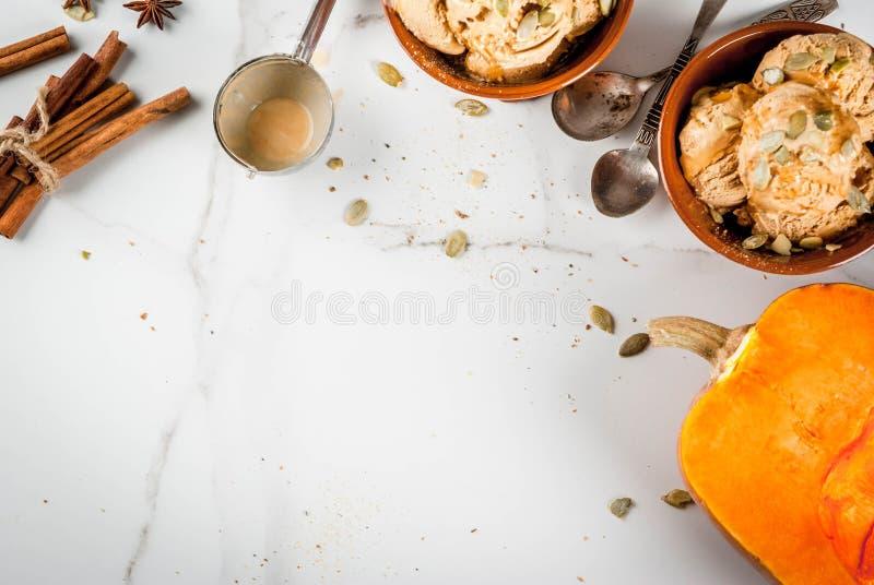 Helado del pastel de calabaza imagenes de archivo