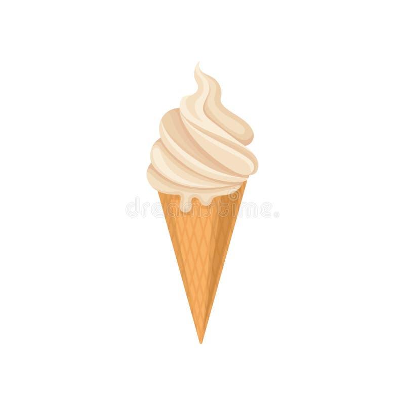 Helado delicioso en el cono curruscante de la galleta, ejemplo frío del vector del postre del verano en un fondo blanco libre illustration