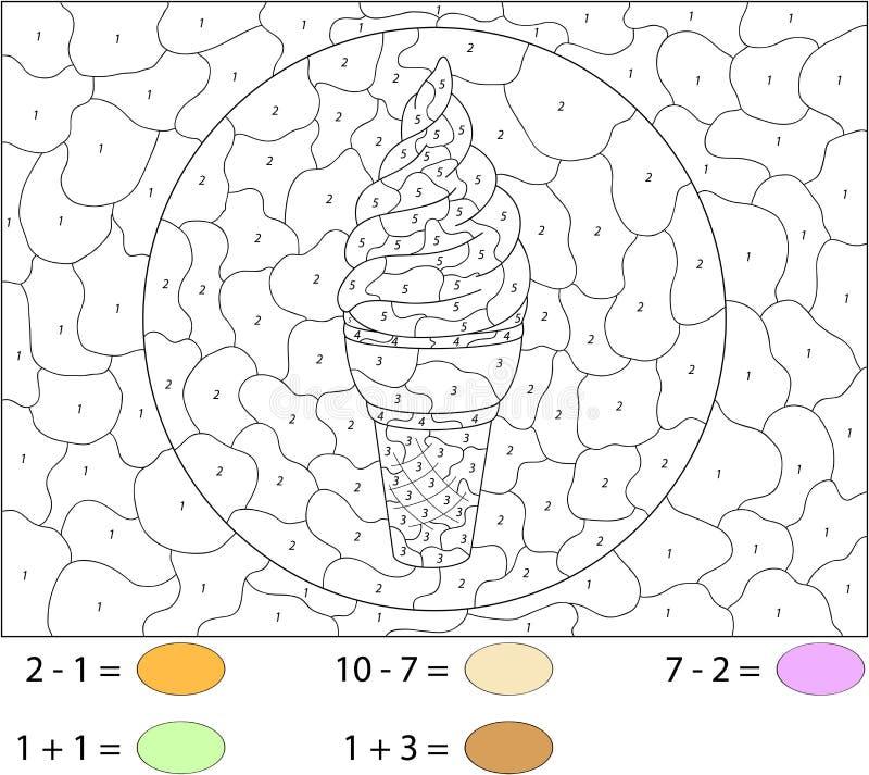 Helado dulce y sabroso Color por el juego educativo del número para ilustración del vector