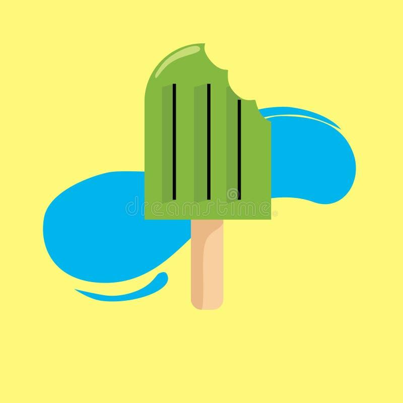 Helado fresco del vector para el modelo del tiempo de verano stock de ilustración