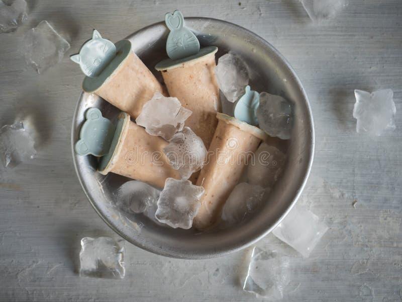 Helado hecho en casa de la fruta en un cuenco profundo con los pedazos de soportes del hielo imagenes de archivo