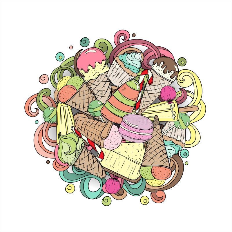Helado, magdalena, pastel de queso, macarrones y otros dulces ilustración del vector