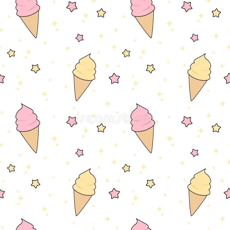 Helado rosado y amarillo lindo de la historieta con el ejemplo inconsútil del fondo del modelo de las estrellas libre illustration
